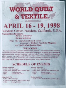 McRae's first program book from World Quilt & Textile Festival in 1998.